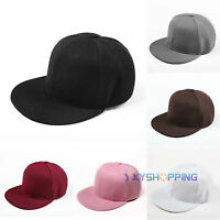 Mens Women Flat Bill Visor Blank Snapback Hat Plain Baseball Cap Classic Hip Hop