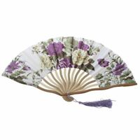 2X(Chinese Floral Pattern Fabric Bamboo Frame Foldable Hand Fan Brown P1E9)