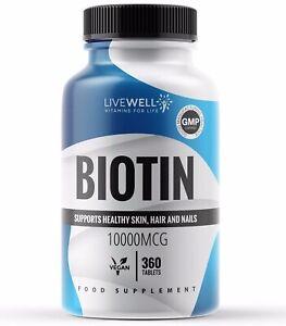 Biotin 10,000mcg Tablets - Hair growth, Skin & Nails - Vitamin B - MAX STRENGTH