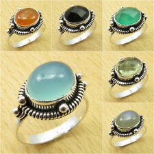 Select Your Size ! 925 Silver Plated BLUE CHALCEDONY & Other Gemstones Ring