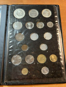 1963 Israel Set of 16 Pruta and Agorot Coins Type I Black Plastic,2 silver coins