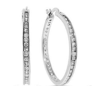"1"" Brilliant Round Diamonique CZ Hoop Earrings Anti Tarnish 925 Sterling Silver"