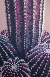 Nagle? Hand Signed Serigraph Art Print of a Cactus Artist Proof Unframed 34x24