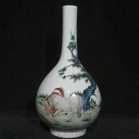 "13.6 ""Qianlong Vieux Chine Famille Rose Porcelaine Cheval Animal Vase Bouteille"