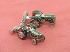 Sterling Silver Nicole Barr Green Tractor Cuff Links