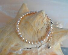 Freshwater Pearl & .925 Sterling Silver 6 to 7 Inch Bracelet + Heart Charm