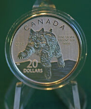 2014 CANADA $20 for $20 Bobcat silver: #12 in series - lowest mintage -coin only