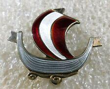 Vintage Viking Ship Pin Norway Sterling Enamel Handmade