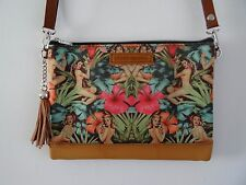 Tropical Pin Up Girl Handbag - Hibiscus Summer 1950s Rockabilly Jungle Brown