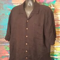 Caribbean Joe Men's Short Sleeve Hawaiian Caribbean Dress Shirt Size XL Black
