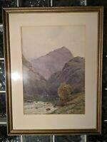 Alfred Fontville de Breanski (b. 1877) Mountain River Watercolor Painting