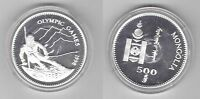 MONGOLIA - SILVER PROOF 500 TUGRIK COIN 1998 YEAR KM#155 OLYMPIC GAMES SKI