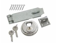 HEAVY DUTY SECURITY SET HASP AND STAPLE 70MM DISC ROUND PADLOCK 2 KEYS