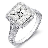 3.19 Ct. Princess Cut w/ Round Cut One Row Halo Diamond 18K Gold Ring G,VS1 EGL