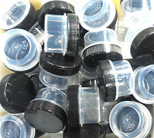 100 New empty tiny Clear Jars Black cap 1/4oz Pp Plastic Container skin makeup