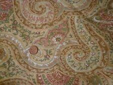 100% LINEN FABRIC PRINT~ aqua gold coral ivory sage paisley ~  UPHOLSTERY WT