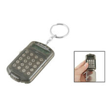 New Gray Hard Plastic Casing 8 Digits Electronic Mini Calculator w Keychain BT