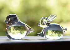 Lovely Clear Art Glass Bird and Rabbit Figures