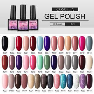 COSCELIA Soak Off Gel Polish 40 Colors Glitter Gel Nail Art Kit Manicure Set