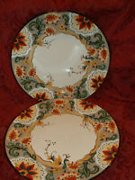 "2 Tabletops Gallery Odessa 11"" Round  Dinner Plate Yellow Brown Red Floral..NEW!"