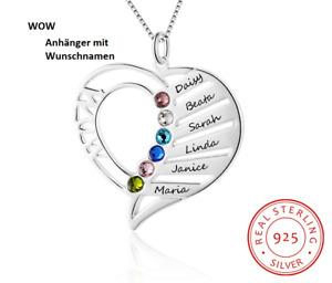 Mamas Geschenk Name Halskette Personalisierte  Geburtsstein Gravieren  925 Sterl