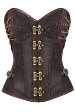 XXL Brown Metal Lock Strapless Corset Renaissance Steampunk Costume Steel Boning