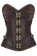 XXL Brown Metal Lock Strapless Corset Renaissance Steampunk Costume Steel Boning
