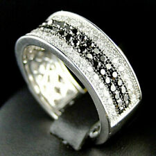 2.20Ct Black & White Round Diamond Wedding Ring for Men's 14k White Gold Finish