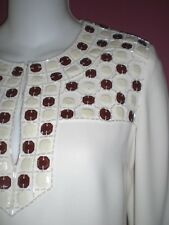 TORY BURCH Runway Collection  Beaded Embellished Top ~4~Sophisticated