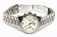 Michael Kors M5076 Women's Runway Silver Classic Steel Chronograph Watch 0108