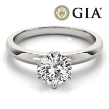GIA AUTHENTIC DIAMOND PROPOSAL RING VVS1 H ROUND 0.7 CARAT EX 18K WHITE GOLD NEW