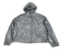 Lauren Ralph Lauren Full Zip Women's Hooded Windbreaker Size XL Silver Pockets