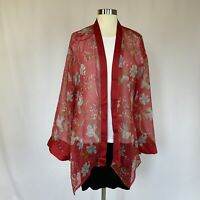 Vince Camuto Women's Blouse Size XL Red Floral Sheer Long Sleeve Kimono Orig $99