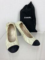 Chanel 8 US 39 EU Cream Black Leather Ballet Flats Slip on Shoes Dust Bag Runway