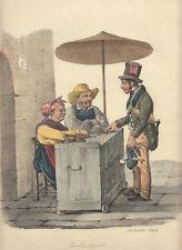 Il cambiamonete 1827 Morner Cuciniello e Bianchi litografia acquarellata epoca