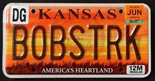 "KANSAS "" AMERICA`S HEARTLAND Vanity BOBSRK = BOB`S TRUCK Specialty License Plate"