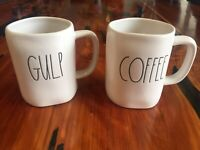 SET OF 2 NEW RAE DUNN By Magenta GULP COFFEE Tea Mug Farmhouse Summer Home HTF