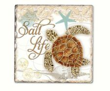 Coastal Design  6 Piece   Salt Life Tumbled Tile Coaster Set 11925