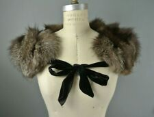 Fox Fur Collar Shoulder Wrap Tie front Cover Scarf Brown VTG (Russian Silver)