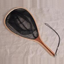 New Nylon Fly Fishing Landing Net Fish Catch Release Wood Handle Frame A0L5