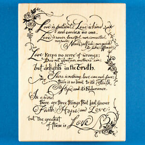 PSX Love is Patient Love is Kind Rubber Stamp K-3291 Wedding Reading Bible Verse