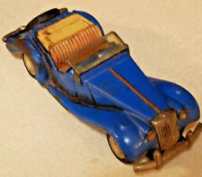 VINTAGE BLUE BANDAI JAPAN TIN LITHO FRICTION MG CONVERTiBLE ROADSTER WORKS