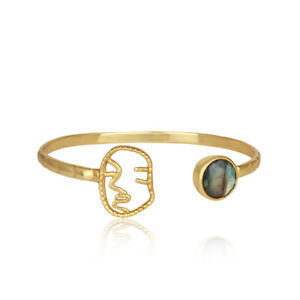Face Design Labradorite Gemstone 925 Silver Gold Plated Cuff Bangle Jewelry