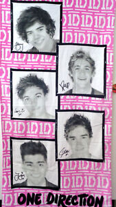 "One Direction Band Pink Colored Portraits Beach Bath Towel Velour 30""X 60"