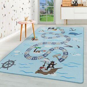 Kurzflor Kinderteppich Kinderzimmer Teppich Spielteppich Seefahrt Piraten Blau