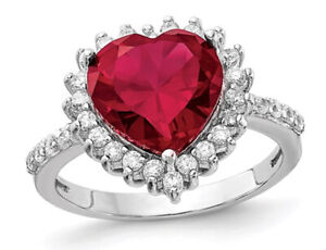 Lab Created Ruby Heart Ring in Sterling Silver