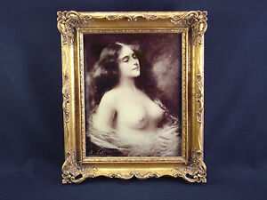 Framed Antique Reverse Glass Photo Female Nude, repro. Angelo Asti c.1902