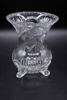 Vintage Etched Lead Crystal three footed Glass Vase Heavy Detailed