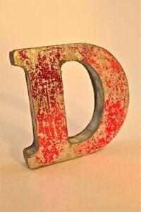 FANTASTIC RETRO VINTAGE STYLE RED 3D METAL SHOP SIGN LETTER D ADVERTISING FONT
