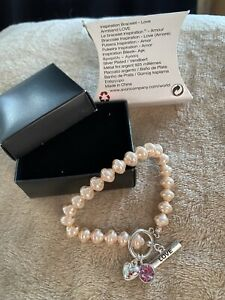 "New Avon Retro Inspiration Bracelet Love T Bar Fastening Heart Love 6"" Beaded."